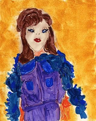 Boa Constrictor Mixed Media - Lady With Feather Boa by Rosemary Mazzulla