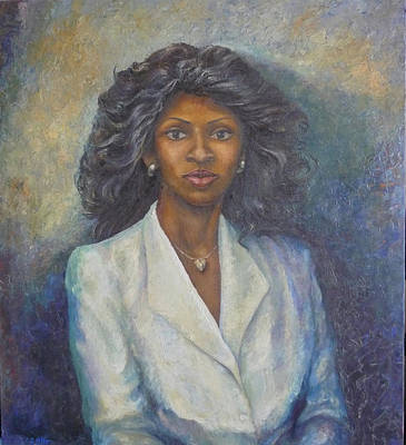 Heart Necklace Painting - Lady With Heart Necklace by L Stephen Allen