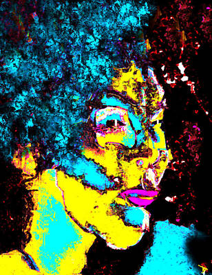 Hair Abstract Art Painting - Lady With The Blue Hair by David Lee Thompson