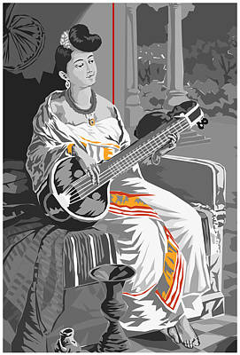 Veena Digital Art - Lady With Veena by Akhil Gopi
