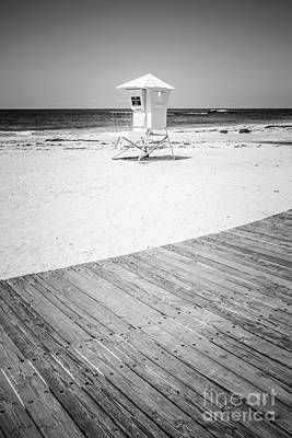 Laguna Beach Lifeguard Tower Black And White Picture Print by Paul Velgos