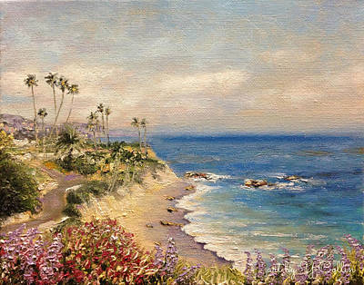 Laguna Beach, California - With Purple Flowers Original by Yoko Collin