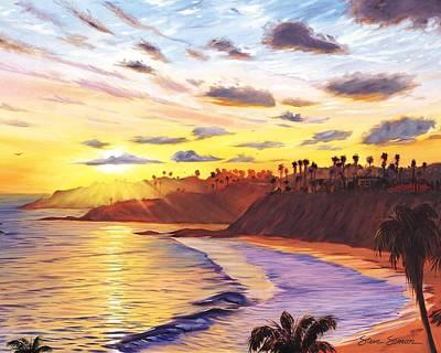 Laguna Beach Painting - Laguna Village Sunset by Steve Simon