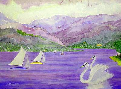 Switzerland Mixed Media - Lake Annecy France by Fred Jinkins