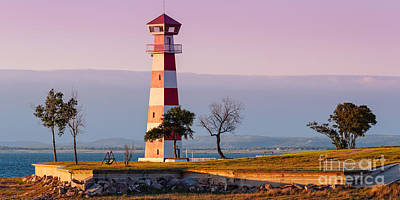 Lake Buchanan Lighthouse In Golden Hour Sunset Light - Texas Hill Country Print by Silvio Ligutti
