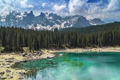 Dolomite Photograph - Lake Carezza And Mountain Range by Melanie Viola