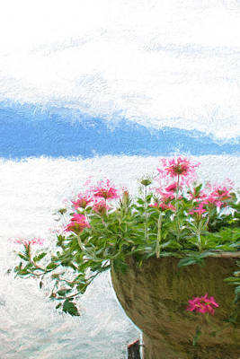 Lake Como Mixed Media - Lake Como Flowers by Gary Guthrie