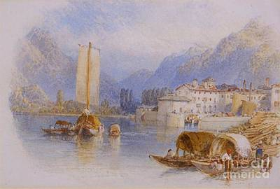 Lake Painting - Lake Como by Celestial Images