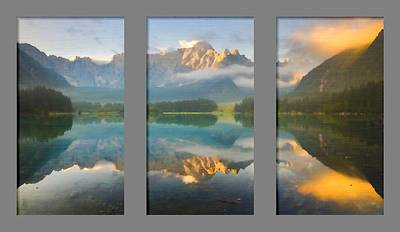 Manipulation Photograph - Lake Fusine In Triptych by Mario Carini