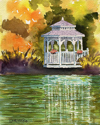 Gazebo Painting - Lake Gazebo by Timithy L Gordon