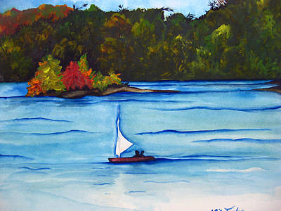 White Water Rafting Painting - Lake Glenville  Sold by Lil Taylor