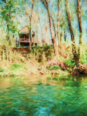 Lakefront Painting - Lake Hideaway - Landscape by Barry Jones