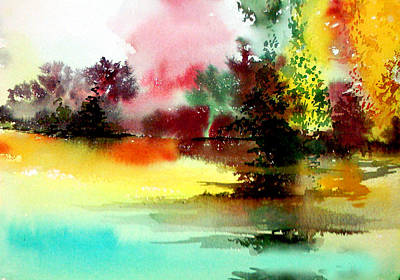 Lake In Colours Original by Anil Nene