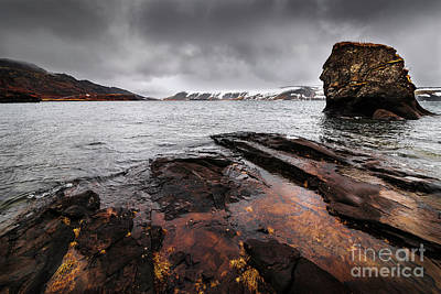 Waterscape Mixed Media - Lake Kleifarvatn by Svetlana Sewell