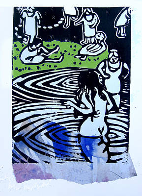 Lino Mixed Media - Lake Ladies by Adam Kissel