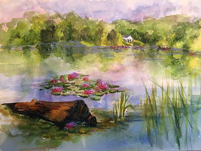 Painting - Lake Logan, Lily Pads by Donna Pierce-Clark