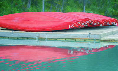 Canoe Photograph - Lake Louise Red Canoes Painterly by Joan Carroll
