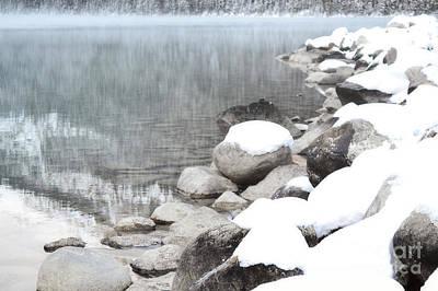 Lake Louise Rocky Shore Landscape Print by Andrea Hazel Ihlefeld