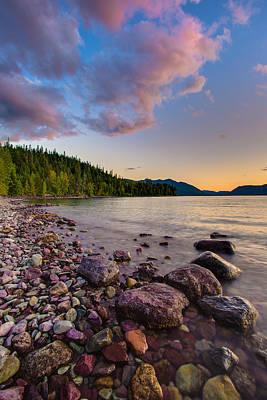 Lake Mcdonald At Sunset Veritcal Print by Adam Mateo Fierro