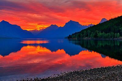 Lake Mcdonald Fiery Sunrise Print by Greg Norrell