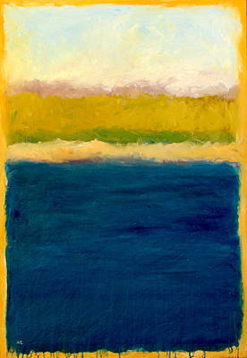 Book Cover Painting - Lake Michigan Beach Abstracted by Michelle Calkins