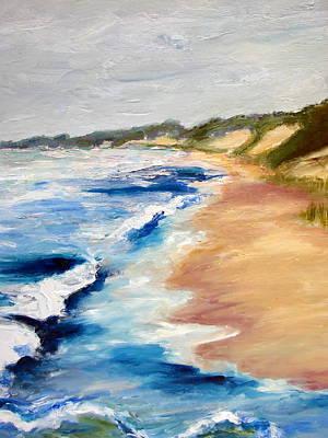 Lake Michigan Painting - Lake Michigan Beach With Whitecaps Detail by Michelle Calkins