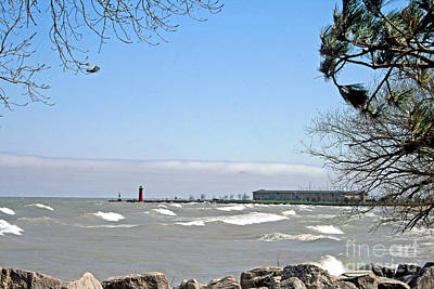 Lake Michigan View From The Rocks Print by Kay Novy