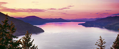 Lake Pend Oreille Panoramic Print by Leland D Howard