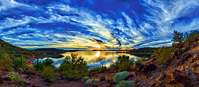 Digitally Manipulated Photograph - Lake Pleasant Sunset 3 by ABeautifulSky Photography
