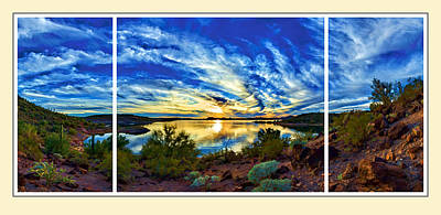 Lake Pleasant Sunset 3 Triptych Print by Bill Caldwell -        ABeautifulSky Photography