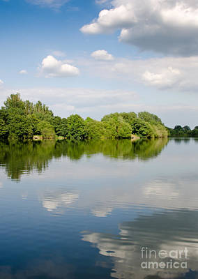 Lake Reflection Dinton Pastures Lakes And Nature Reserve Reading Berkshire Uk Print by Andy Smy