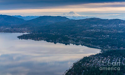 Seattle Skyline Photograph - Lake Sammamish Towards Issaquah And Rainier by Mike Reid