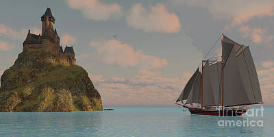 Lake Schooner And Castle Print by Corey Ford