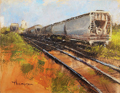 Lake Street Freight Cars Original by Tracie Thompson