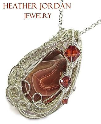 Sterling Silver Wrapped Pendant Jewelry - Lake Superior Agate Pendant In Sterling Silver With Swarovski Crystal Lsapss5 by Heather Jordan