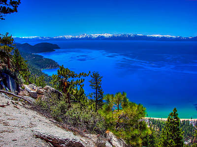 Lake Tahoe From Flume Trail Over Sand Harbor State Park Print by Scott McGuire