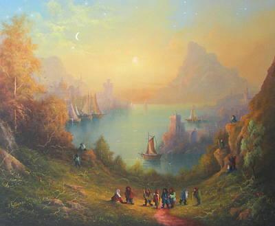 Lotr Painting - Lake Town Thirteen Dwarves And A Hobbit Named Bilbo by Joe  Gilronan