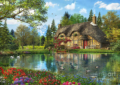 Lake View Cottage Print by Dominic Davison