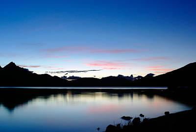 Mountain Reflection Lake Summit Mirror Photograph - Lake Wakatipu Dusk by Nicholas Blackwell