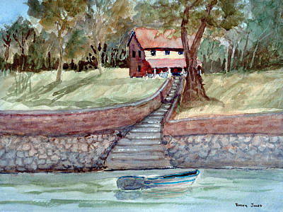 Row Boat Drawing - Lakefront Property - Watercolor by Barry Jones
