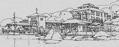 Watersports Drawing - Lakefront Residence by Andrew Drozdowicz