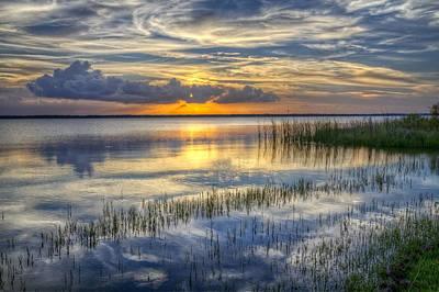 Lakeside At Sunset Print by Debra and Dave Vanderlaan
