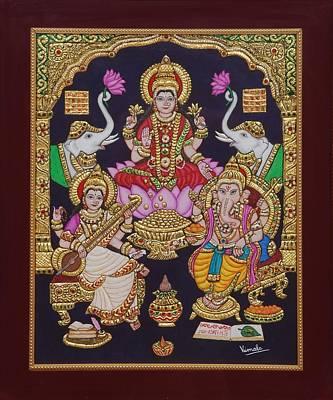 Lakshmi Ganesh Saraswati Print by Vimala Jajoo