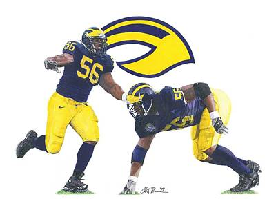 University Of Michigan Mixed Media - Lamarr Woodley by Chris Brown