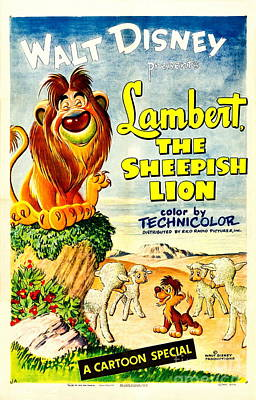 Stork Mixed Media - Lambert The Sheepish Lion, 1952 Walt Disney Cartoon by Zalman Latzkovich