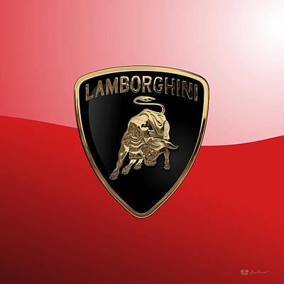 Lamborghini - 3d Badge On Red Original by Serge Averbukh