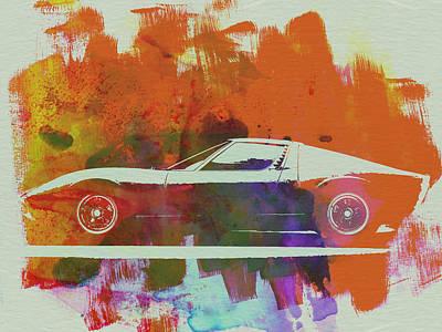Old Car Drawing - Lamborghini Miura Side 2 by Naxart Studio
