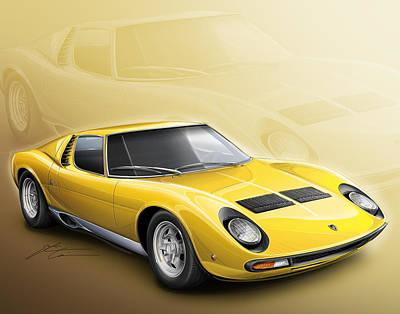 1968 Digital Art - Lamborghini Miura Sv 1966-1973 by Etienne Carignan