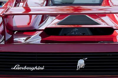 Lamborghini Rear View Print by Jill Reger