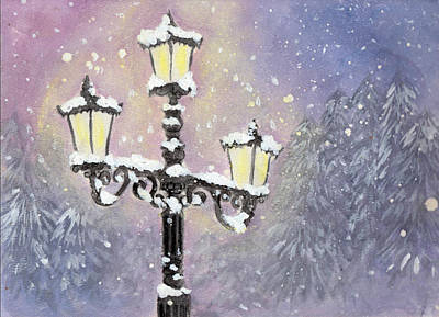 Night Lamp Painting - Lamp Post In Purple by Jennie Hallbrown